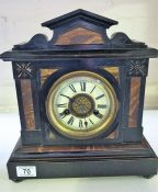 Faux marble and sate mantle clock, 8 day German movement, striking on gong.