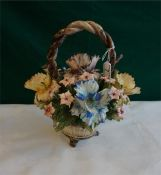 "A large Capo-Di-Monte basket of flowers 12"" x 11"""