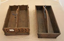 2 x Victorian cutlery tray one with lattice pattern