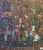 A gilt framed heraldic wool-work tapestry
