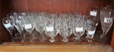 Large selection of cut glass and crystal ware including wine, champagne, port, sherry, whisky etc