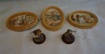 3 Border Fine Art Beatrix Potter wall plaques. Robin and a Great Tit figurines.