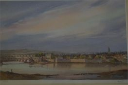 Signed Ltd Edition print of 53/250 of Berwick harbour and fortified walls by Fred Stott