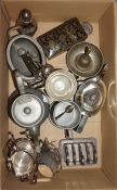 A box of plated ware, plus a box of brass and copper ware.