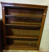 Victorian pine stained 4 shelf open bookcase