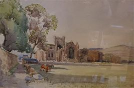 A water colour of Melrose Abbey, Signed George Gray 1880 - 1909