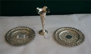 An Indian Silver vase & a pair of Indian Silver Sweet dishes