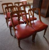 6 oak Victorian dining chairs