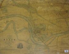 Framed survey map of Kelso