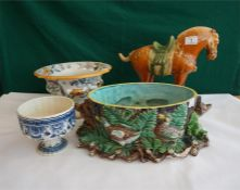 Majolica jardiniere, Masons tureen, blue & white pottery vase and a repro tang dynasty pottery horse