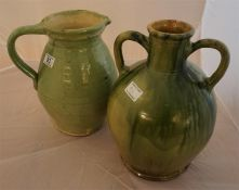 A dunmore pottery type Greek urn and a Dunmore pottery type large ale jug 13 inches & 14 inches high