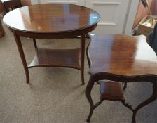 A mahogany inlaid oval Edwardian occasional table and a 1930's mahogany lamp table