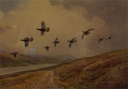 A gilt framed print limited edition No 142 of 300 by J.C. Harrison, driven grouse.