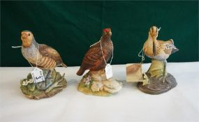 3 porcelain game birds by Kowa