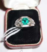 An art deco Emerald & Diamond ladies ring set