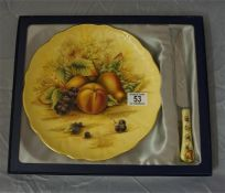 "An Ansley 15"" diameter fruit decorated plate and matching knife"