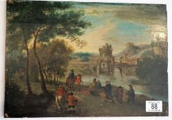 Small oil on board painting 18th century style, people walking along river bank fortified