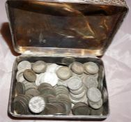 Silver 2 handled vase, a box of silver threepence pieces and a box of miscellaneous coins