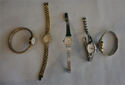 5 assorted ladies wrist watches complete with bracelets