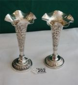 A pair of Indian Silver flower vases