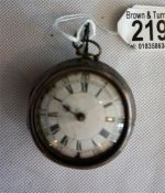 A silver pair cased Verge Watch by John Mythbourne London