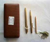 A 9ct Gold Water-mass Fountain Pen, plus 2 gold plated lead pencils