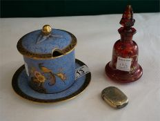 A Carlton Ware honey/preserve pot, a Bohemia ruby glass scent bottle and plated vesta case