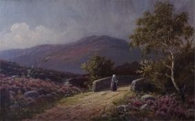 A gilt framed oil on canvas of a highland scene with figure walking over bridge
