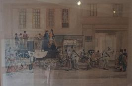 Framed 19th Century Engraving of The Blenheim ready to leave Oxford outside The Stair Hotel and a co