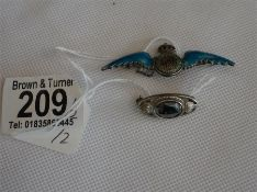 Silver and enamel RAF badge & a silver brooch with a Hematite Stone