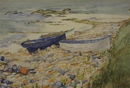 Framed watercolour of Fishing Boats by Ernest J Mears
