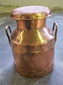 Copper Milk Churn with 2 handles, Co-op limited express dairy