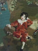 A gilt framed wool-work tapestry of the blue boy and one other of the red boy and a gilt framed