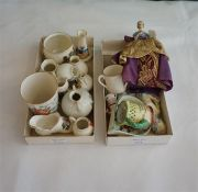 5 continental Porcelain lady pin cushion busts & 14 pieces of crested china