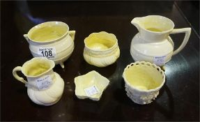 6 pieces of Belleek ware including jug, cauldron, 3 bowls and dish