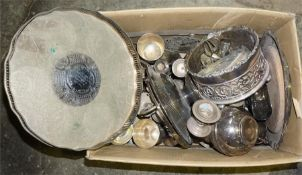 A box of assorted plated ware