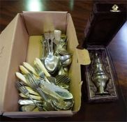 Selection of silver plated flatware and 1 pair of silver sugar tongs & a boxed plated sugar sifter