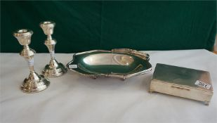 """A pair of Silver 7"""" high candle sticks, plated cigarette box & fruit bowl"""