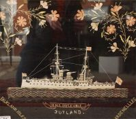 A framed sailors embroidery of HMS Flexible with battle honours, early 20th century image