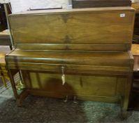 Walnut cased art deco upright piano by B Squire Est 1829