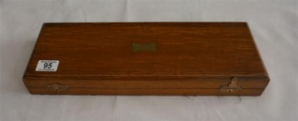 An oak cased 3 piece stag horn mounted carving set Circa 1903