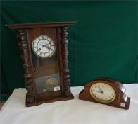 German spring wall clock in mahogany stained case and a Edwardian inlaid mahogany cased mantle clock