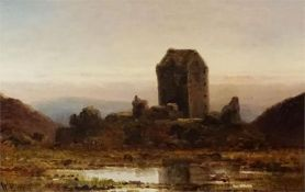 Oil on canvas by W Burry of Smailholm Tower