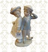 Lladro figure - boy & girl holding hands 10 inches high