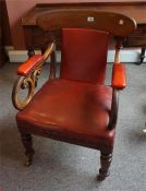 Victorian mahogany carver chair covered in red rexine