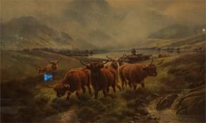 2 framed prints of Highland cattle by H.R. Hall
