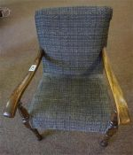 Edwardian stained mahogany child's Armchair, on turned legs with open arms.