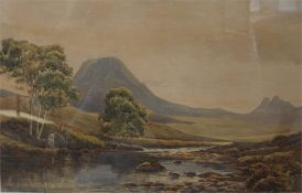 Watercolour of river by Harry J Sticks 1867-1938