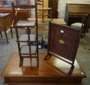 Mahogany three tier folding cake stand with a mahogany inlaid firescreen