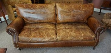 Antique style Brown leather two seater club sofa